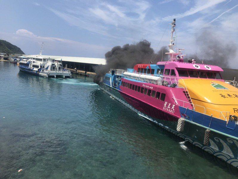 往返綠島的客輪天王星疑因船齡過高,近年來頻頻在航行時冒黑煙。圖/本報資料照片