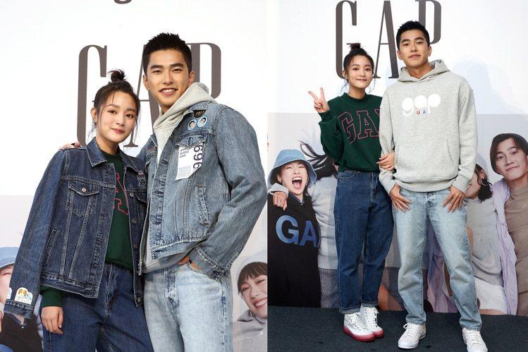 王淨(左)和曾敬驊現身GAP秋季新品活動,搶先演繹新系列服裝。記者蘇健忠/攝影