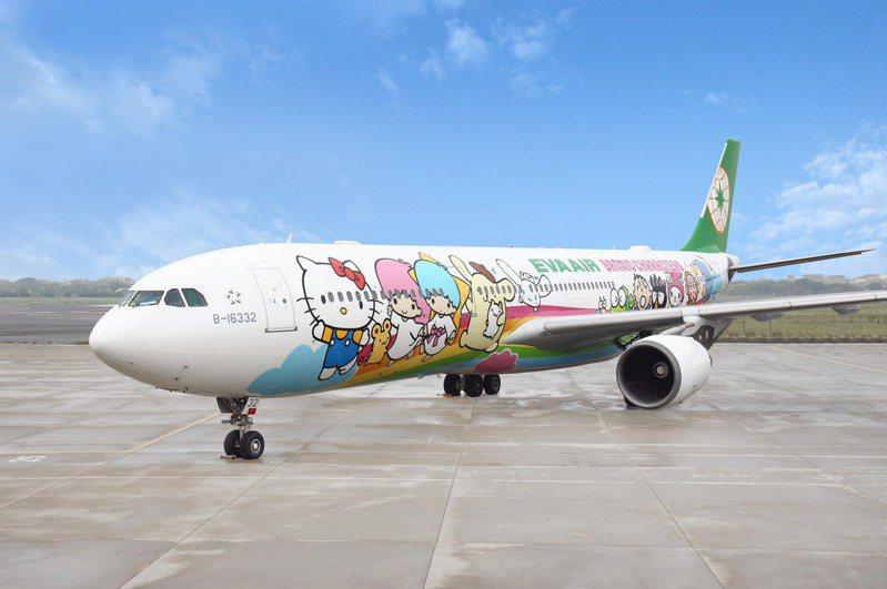長榮航空超前部署「類出國專案航班2.0」,除了有超人氣的Hello Kitty彩繪機外,深受航空迷青睞的787-10夢幻客機也首度加入「類出國」的行列。圖/長榮航空提供