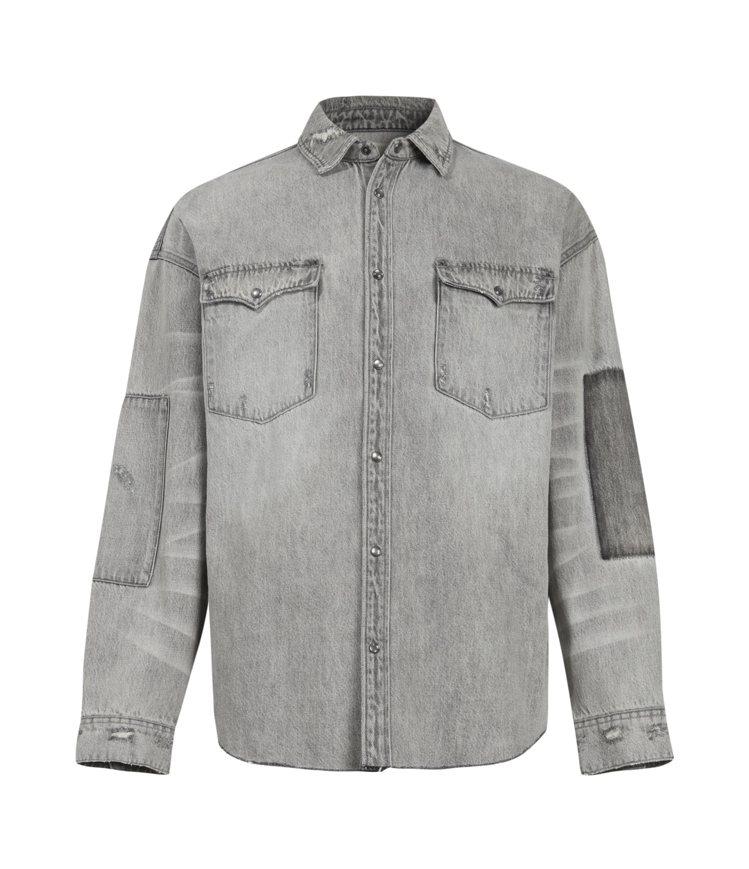 AllSaints Solara灰色復古長袖襯衫6,100元。