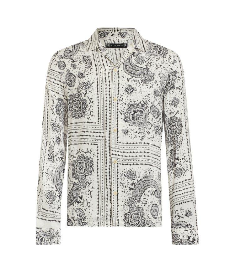 AllSaints Ventura白色長袖印花襯衫5,400元。