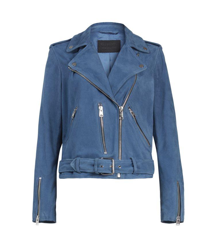 AllSaints Balfern藍色麂皮騎士皮衣19,700元。