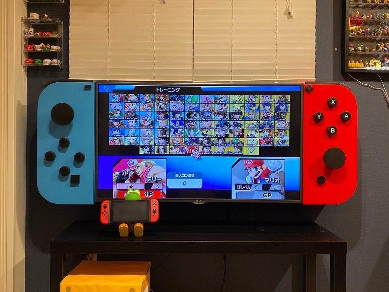 日本爸爸將電視變身成巨型Switch,吸引網友關注。 圖擷自otakei