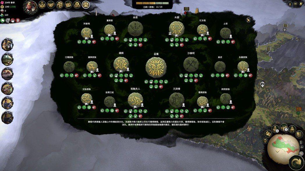 玩家可以藉由征服或是外交、事件等方式逐漸統一各部,並獲取各部族帶來的特殊加成效果...