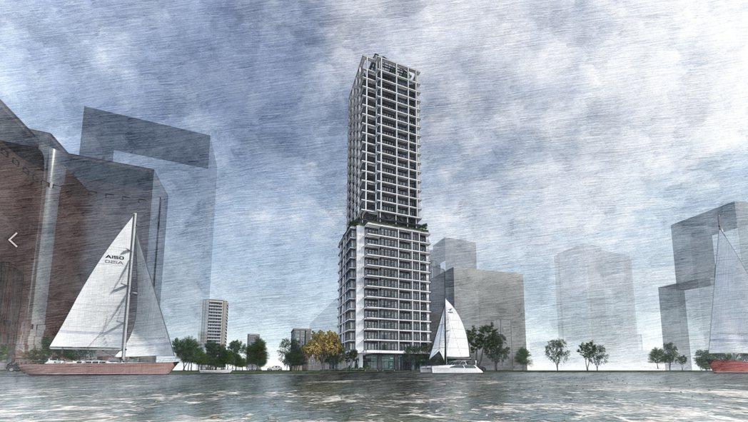 京城建設在愛河第一排推出僅38戶總銷達30億的超級豪宅「京梧桐」。 圖片提供/京...
