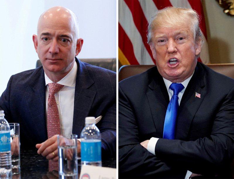 富比世雜誌公布美國前400大富豪榜,亞馬遜執行長貝佐斯(Jeff Bezos,左)連3年稱霸;美國總統川普(右)名次退步。 路透