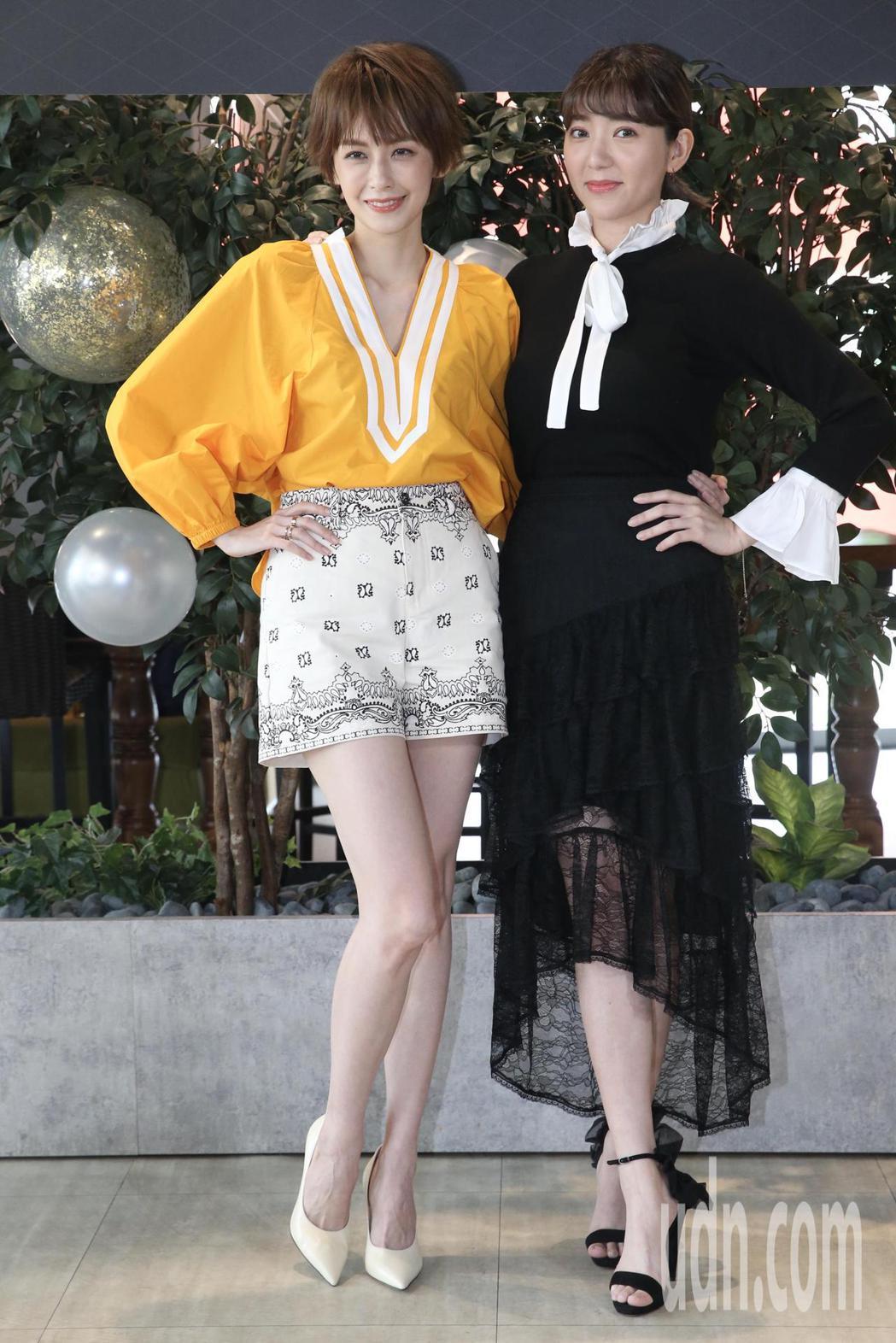 袁艾菲(左)首度入圍金鐘戲劇女配角,好友郭雪芙(右)驚喜現身打氣。記者林俊良/攝...