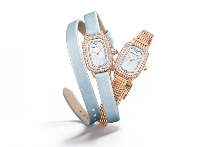 黃K金鑲鑽的Emerald系列腕表,搭配金屬表帶或雙圈淡藍色表帶,各有不同氣質,價格店洽。圖 / Harry Winston提供。