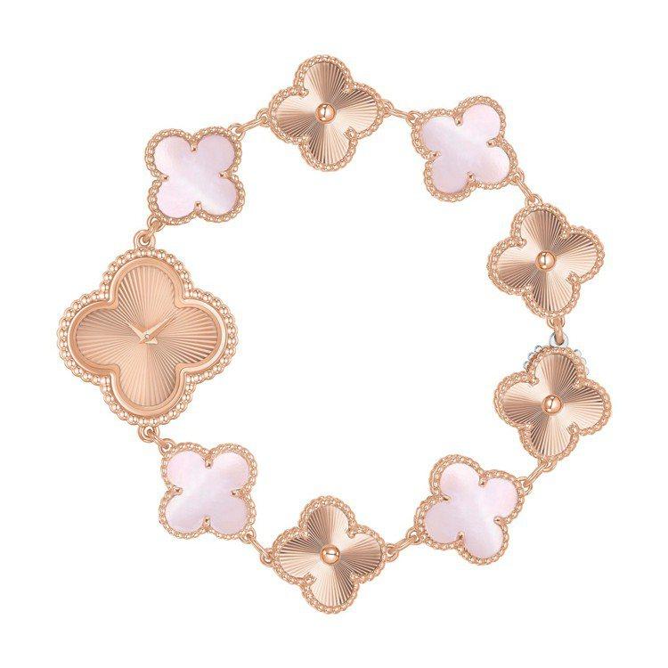 Sweet Alhambra腕錶,玫瑰金、粉紅色珍珠母貝、石英機芯,45萬8,0...