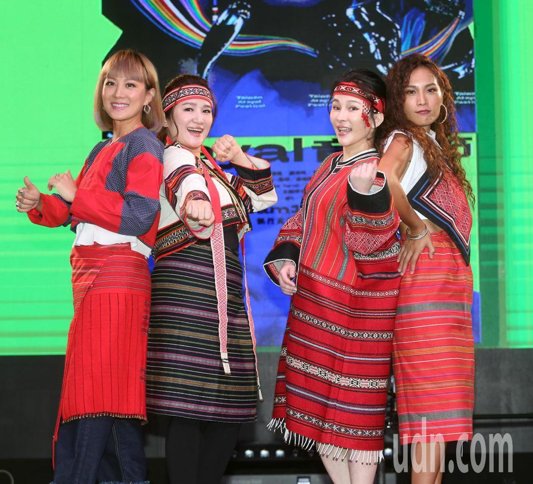 溫嵐(右二)、呂薔(右一)、羅美玲(左二)、璽恩(左一)。記者曾吉松/攝影