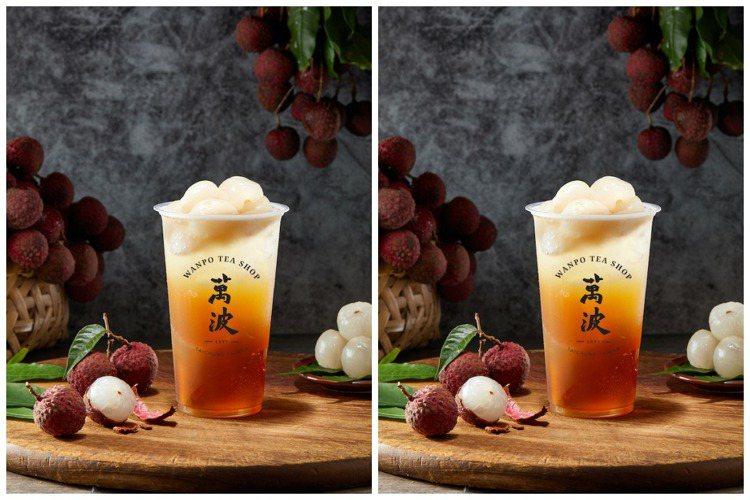 萬波島嶼紅茶新推出「大小吉荔」,中杯55元,大杯65元。圖/萬波島嶼紅茶提供