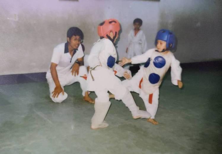 劉俊賢(右)5歲開始學習跆拳道,由身為國家級教練的父親劉德興親自指導。圖/劉俊賢...