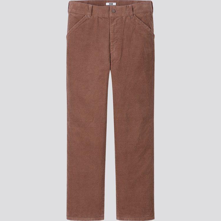 UNIQLO U系列男裝燈芯絨Regular fit 直筒長褲1,290元。圖/...