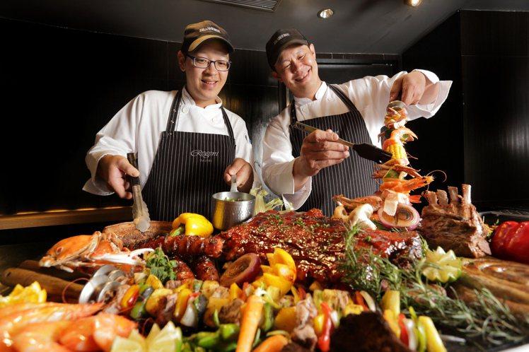 台北晶華自助餐廳主廚團隊匯集豐美烤物,推出全球「夯」肉宴」。圖/台北晶華提供