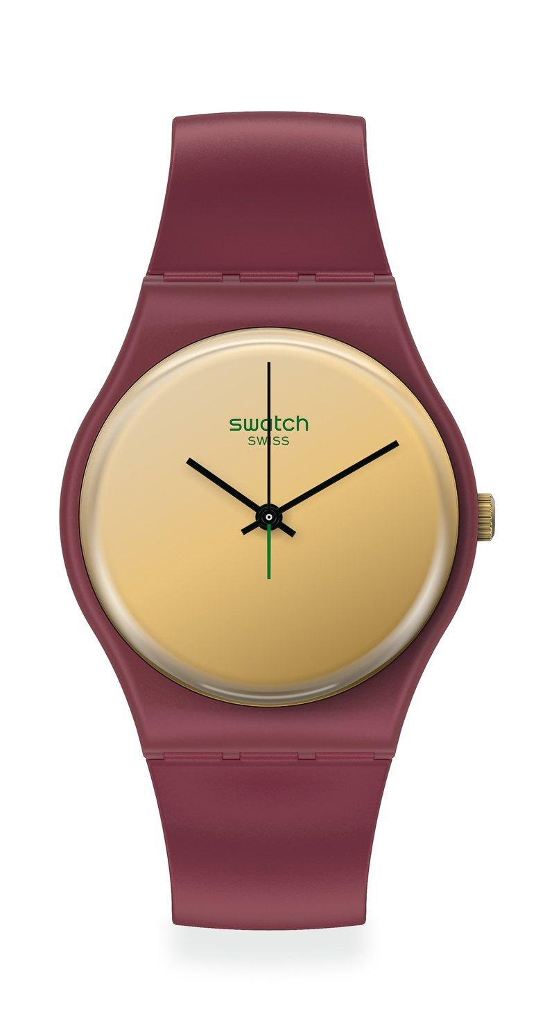 SWATCH 1983復刻經典Gent系列漢語GoldenShijia腕表2,200元。圖/SWATCH提供