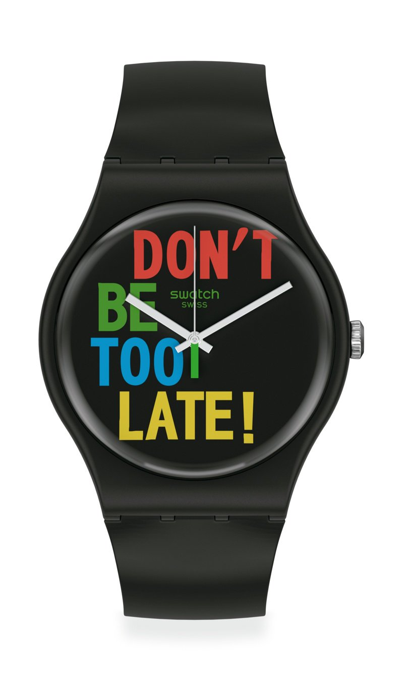 SWATCH 1983復刻經典New Gent系列時間時間由你定義TimeforTime腕表2,500元。圖/SWATCH提供