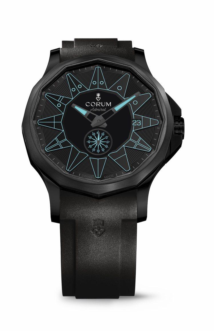 CORUM,海軍上將系列純黑限量腕表,精鋼PVD黑色,42毫米,時間顯示,藍色特...