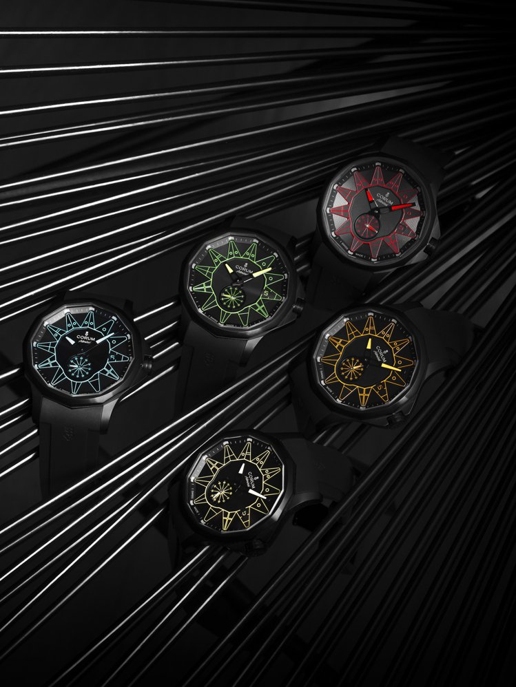CORUM,海軍上將系列純黑限量腕表,各色限量各100只,定價18萬5,000元...