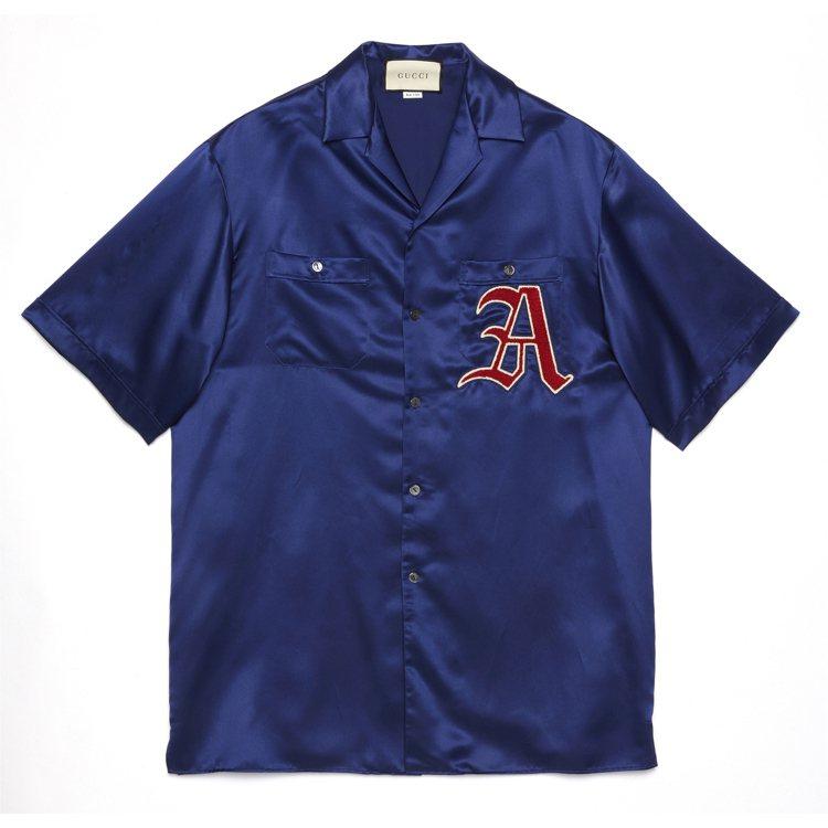 寬版絲質保齡球衫,88,000元起。圖/GUCCI提供