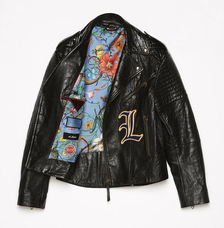 字母刺繡皮夾克。25萬8,000元起。圖/GUCCI提供