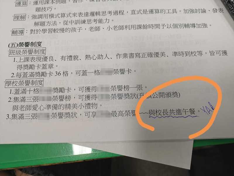 原PO貼出一張學校獎勵表,只見與校長共進午餐是所有獎勵中的最高榮譽。圖擷自爆廢公社公開版