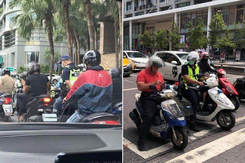 機車騎士於停等紅燈時滑手機,未注意旁有警察全程觀看。 圖/翻攝自爆料公社、爆廢公社