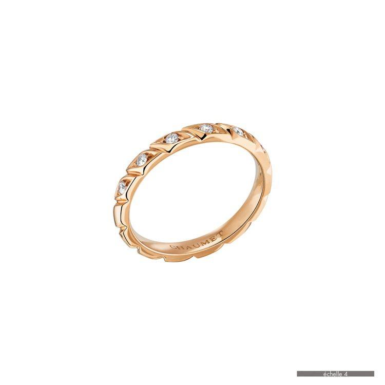 CHAUMET Torsade de Chaumet 玫瑰金鑲鑽戒指,約八萬元。...