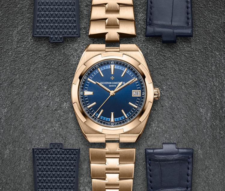 具備鱷魚皮帶、橡膠表帶與粉紅金鍊帶的江詩丹頓Overseas自動腕表,可對應生活...