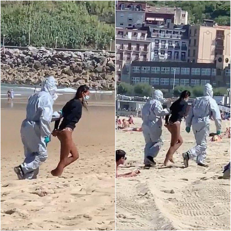 全球新冠疫情持續延燒,西班牙卻傳出一名女子確診後執意去海邊衝浪,遭舉報後被警察逮捕且面臨巨額罰款。路透/INSTAGRAM/@JAVIZONE