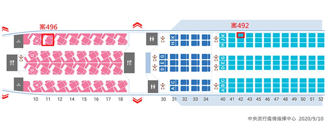 案496班機座位圖(含案492座位對照)。圖/指揮中心提供