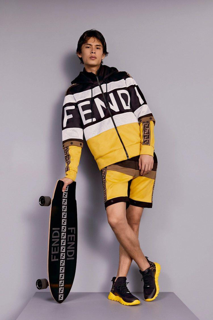 FENDI Roma高筒運動鞋採用與服裝相同的黑白黃配色。圖/FENDI提供