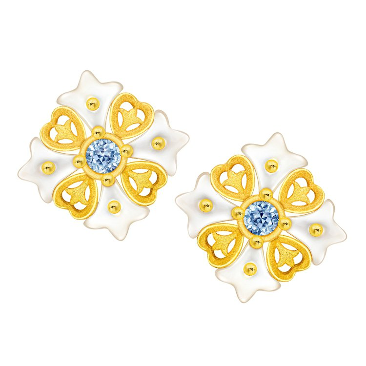 鎮金店 「花之魅影」純金鑲嵌貝母系列耳環,22,600元。圖/鎮金店提供