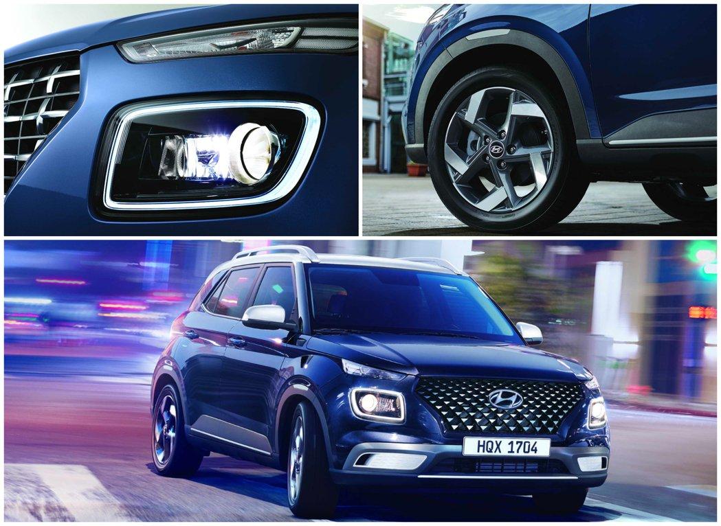 Hyundai Venue承襲家族休旅的分離式頭燈設計,並在GLB車型以上標配了...