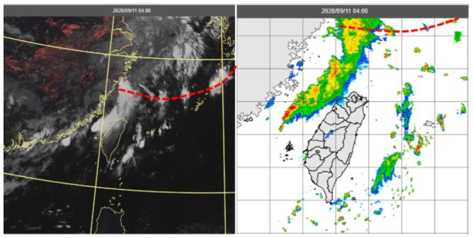 今晨4時真實色雲圖(左圖)及雷達回波圖(右圖)顯示,鋒面(紅虛線)在北部海面,鋒面前部分對流雲系在海峽北部,雖向台灣陸地靠近,但也逐漸消散中。圖/取自「三立準氣象.老大洩天機」