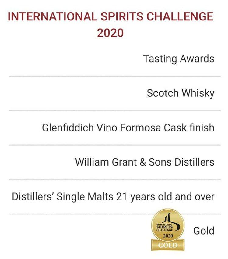 格蘭菲迪「台灣精神第二號」獲ISC國際烈酒競賽金牌肯定。圖/格蘭菲迪提供。提醒您...