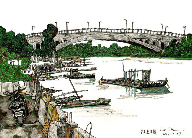 安平區公所將舉辦安平小鎮旅繪講堂,「藝術蝦」筆下的安平漁港。圖/安平區公所提供