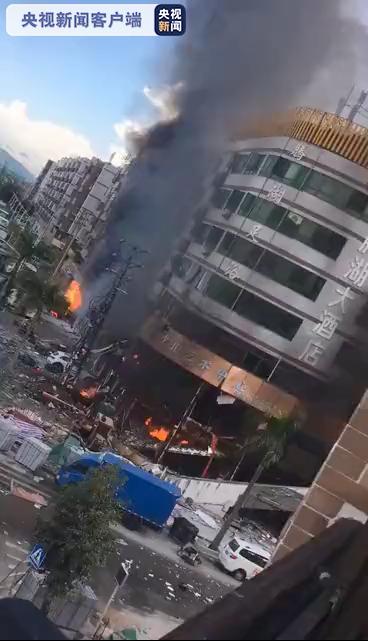 廣東省珠海市一間酒店今早發生爆炸。圖/取自央視新聞截圖