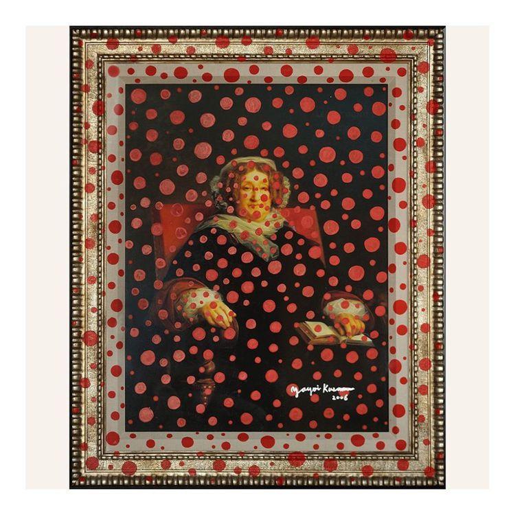 草間彌生於2006年運用經典的紅色圓點,表達她對凱歌夫人的景仰。圖/翻攝自IG。...