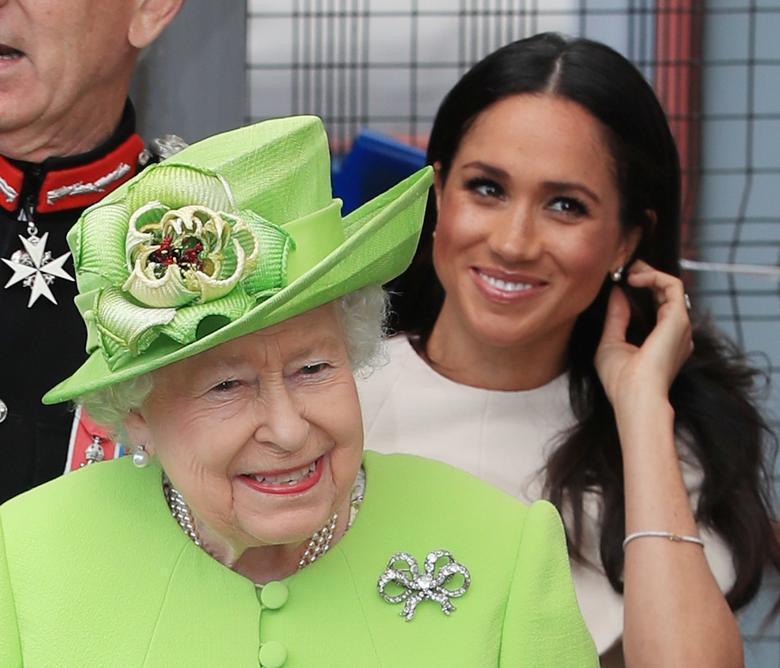 英女王伊莉莎白二世(左)曾經對梅根頗為關愛。圖/路透資料照片