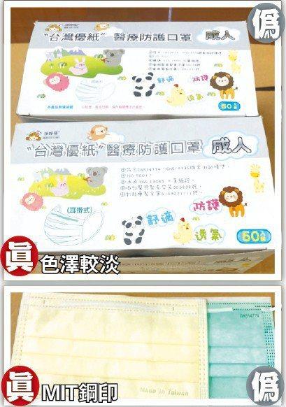 台灣優紙口罩遭漢賓仿冒銷售,業者說正牌為手寫文字,色澤較淡,草原圖案有白點,口罩...