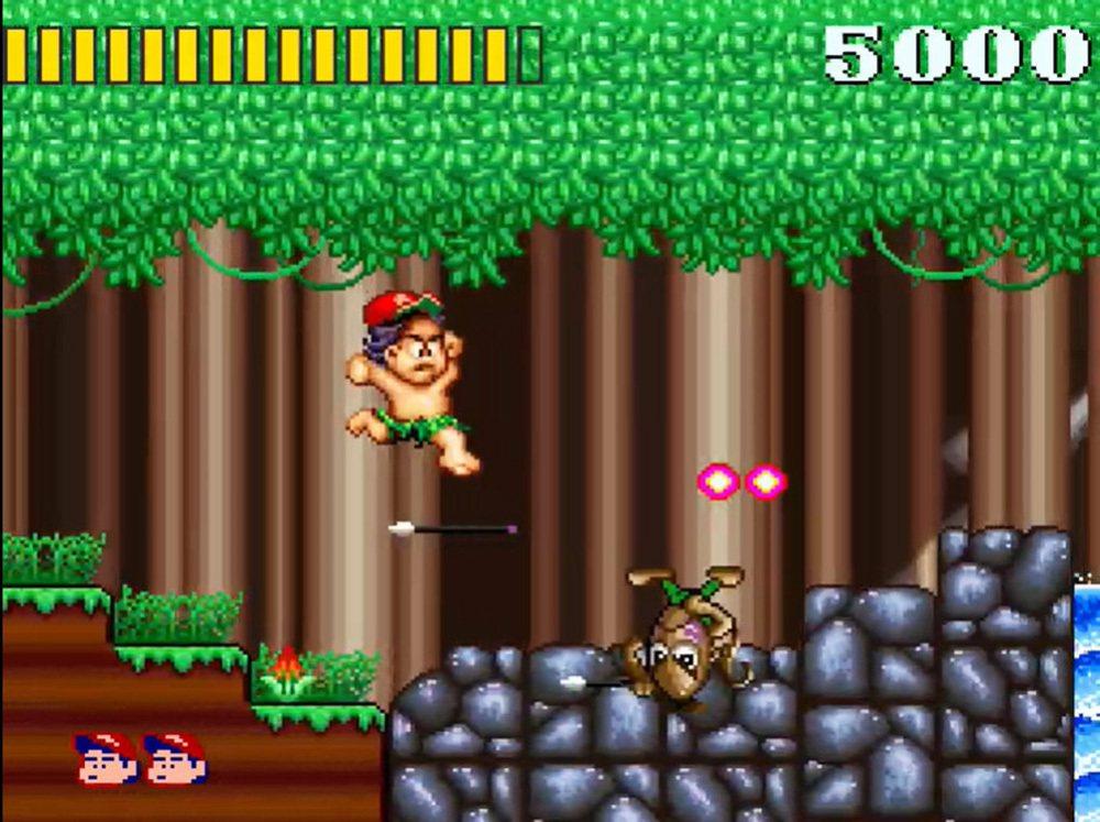 在超任上推出的《高橋名人大冒險島》遊戲畫面。
