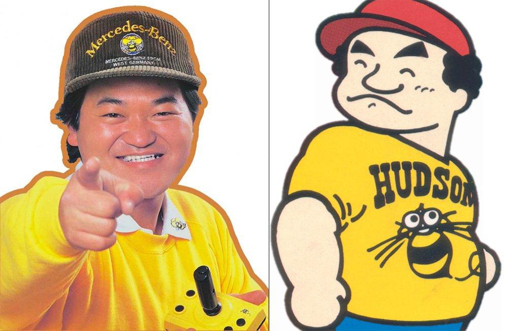 高橋名人當時的標準形象照與形象圖,黃衣服,戴著帽子蓋住一頭長髮,據本人說戴帽子是...