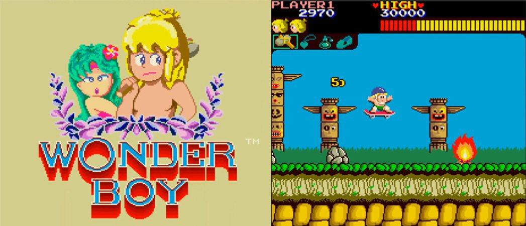 SEGA 最早在 1986 年推出的《神奇男孩》之標題畫面與遊戲畫面。