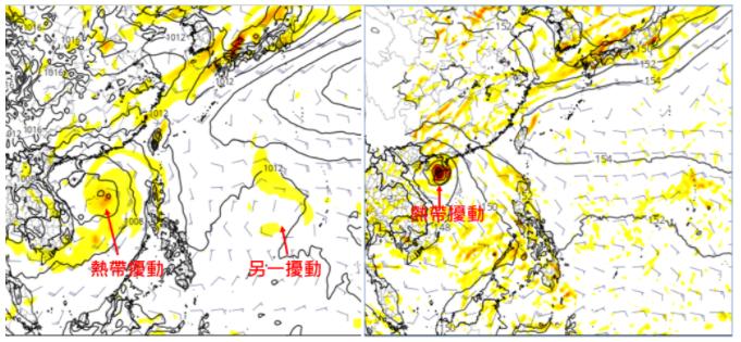 最新歐洲(左圖)模式及美國(右圖)模式,模擬下周五20時天氣圖顯示,南海有熱帶擾動發展,模擬的動向皆對台無直接影響。另外,在菲律賓東方海面,兩模式亦皆模擬出7天之後,另有熱帶擾動醞釀的跡象,亦需一併觀察。圖/取自「三立準氣象.老大洩天機」