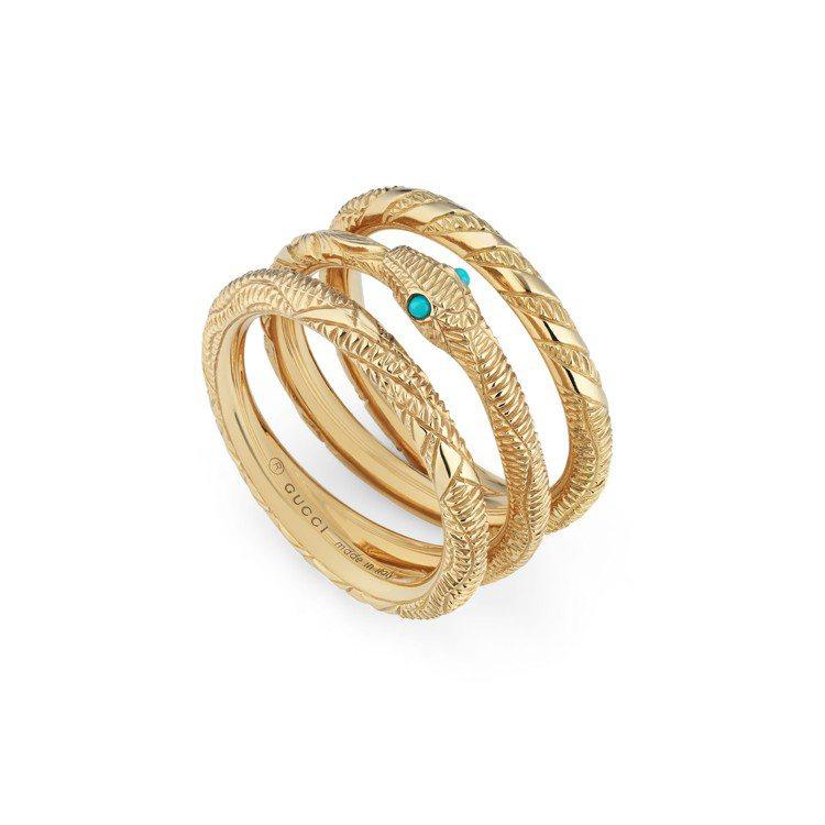 GUCCI,OUROBOROS 系列18K黃金銜尾蛇土耳其石戒指,10萬1,50...