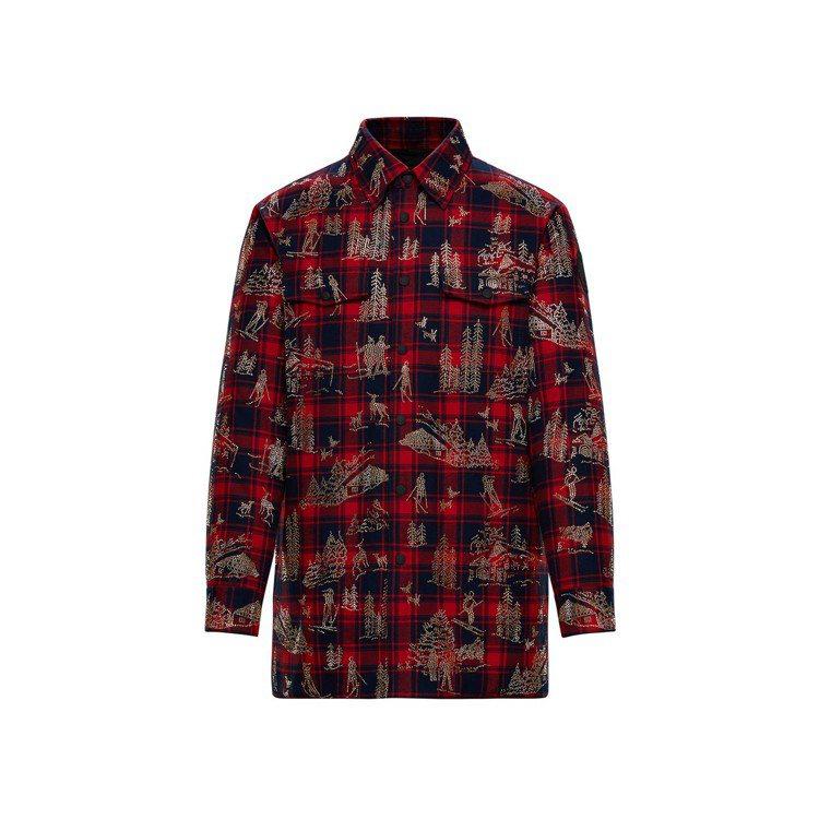 Acosta施華洛世奇水晶貼飾法蘭絨格紋襯衫外套,44萬2,700元。圖/MON...
