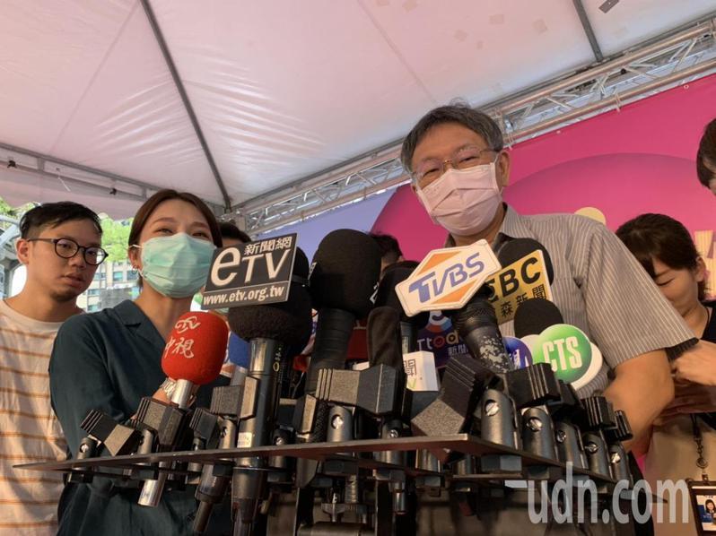 柯文哲今出席西門町Cosplay活動,會前接受媒體聯訪。記者趙宥寧/攝影