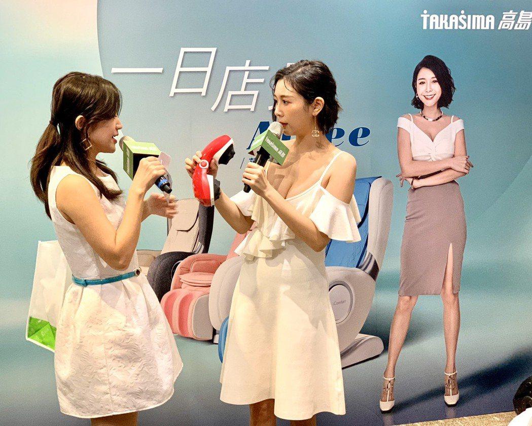Albee范乙霏出席一日店長活動,現場和粉絲互動,一襲白色洋裝胸部快掉出來。圖/...