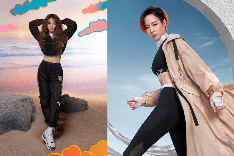 女神張鈞甯 (右)、天后蔡依林Jolin,在近期曝光的全新系列形象廣告中,不約而同的都展示了她們的纖腰。圖/adidas、PUMA提供