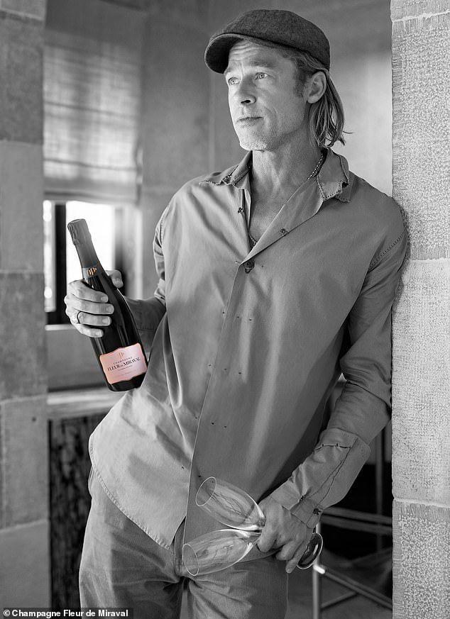 布萊德彼特是自家出產的酒最佳代言人。圖/摘自Champagne Fleur de...